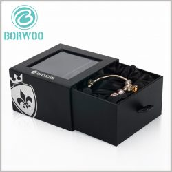 black small bracelets gift boxes with windows. There are PVC windows on the top of the black cardboard drawer boxes, you can directly see the product style, which is the best way to promote the product.