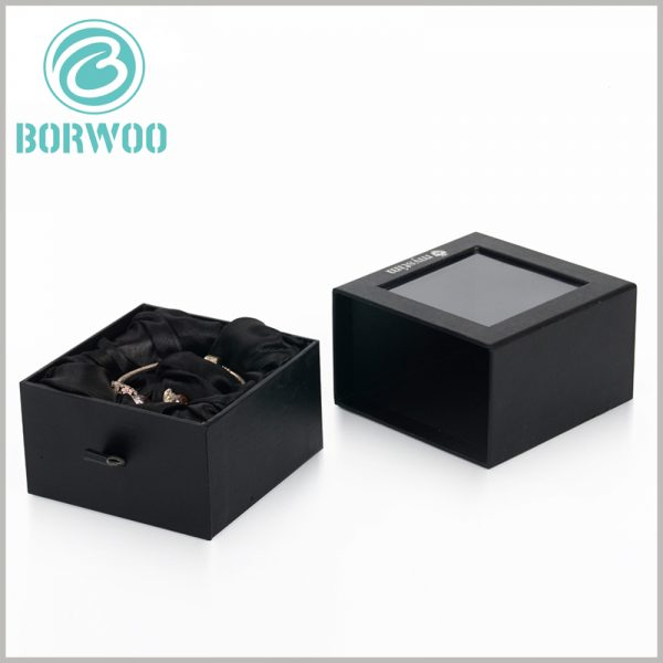 black square bracelets gift boxes with windows. The black silk scarf pull ring on the side of the inner boxes of the cardboard drawer can help the inner box to slide easily.