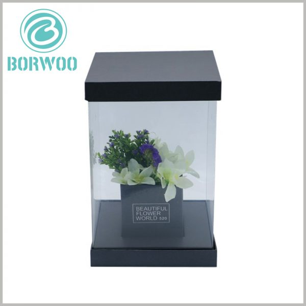 black square dispaly boxes for flower packaging. The square frame inside the package is used to hold flowers and can display products without external influence.