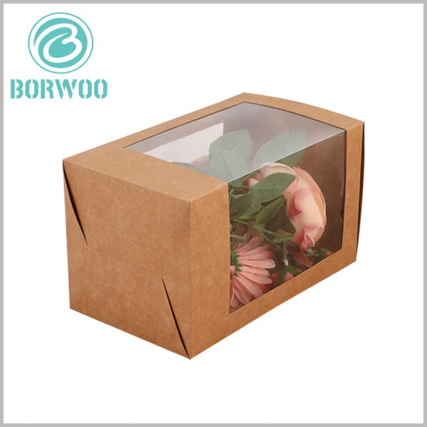brown Kraft paper boxes with window for flower packaging. Brown kraft paper packaging has the characteristics of being completely foldable, and the packaging can greatly reduce transportation costs during transportation.