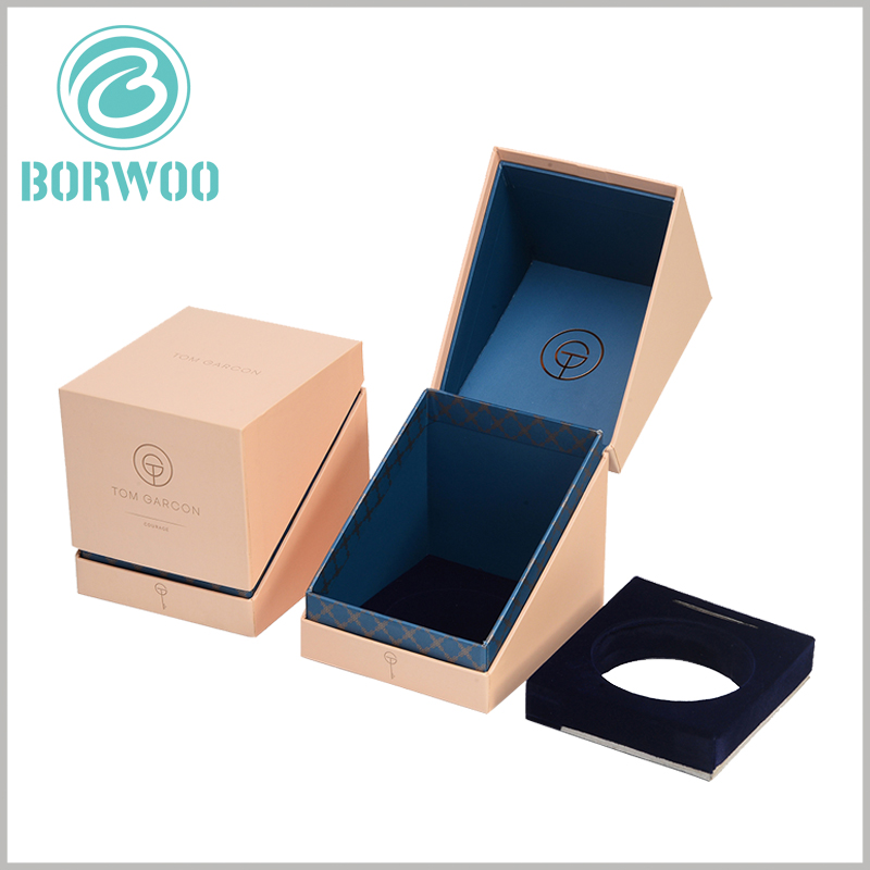 brown kraft candle boxes packaging with insert