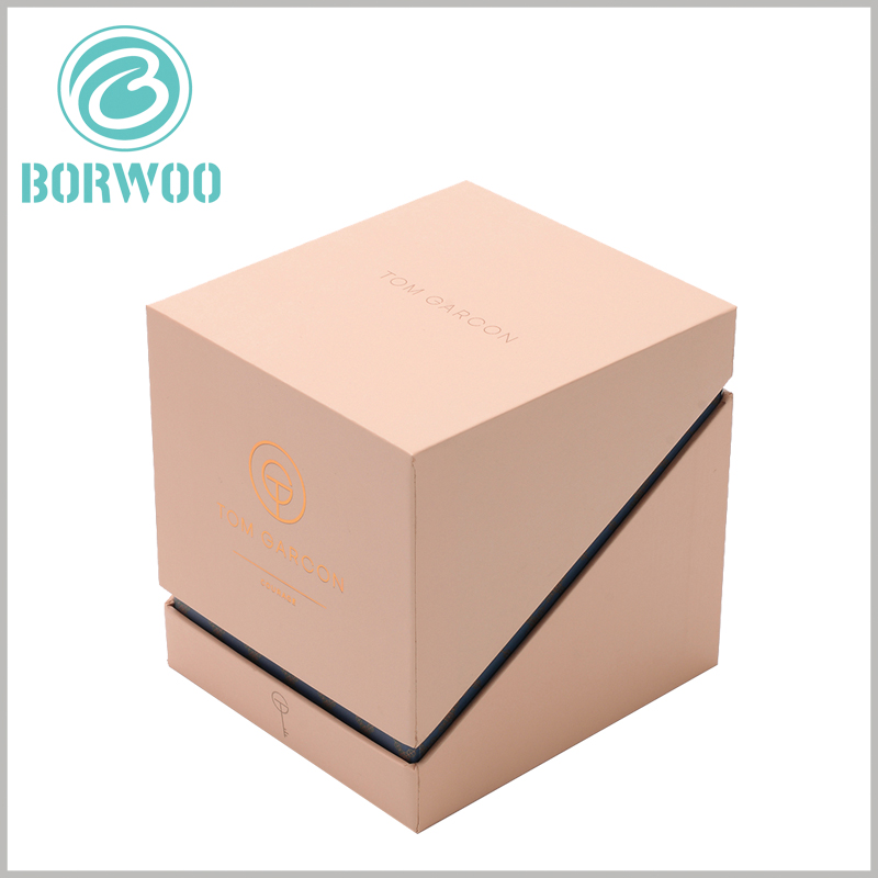 brown kraft candle boxes packaging with logo
