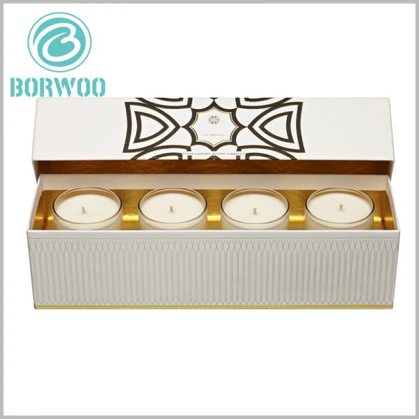 cardboard candle boxes packaging for 4 jars. The inside of the customized packaging is decorated with gold cardboard, which further reflects the high-end and value of the candle.