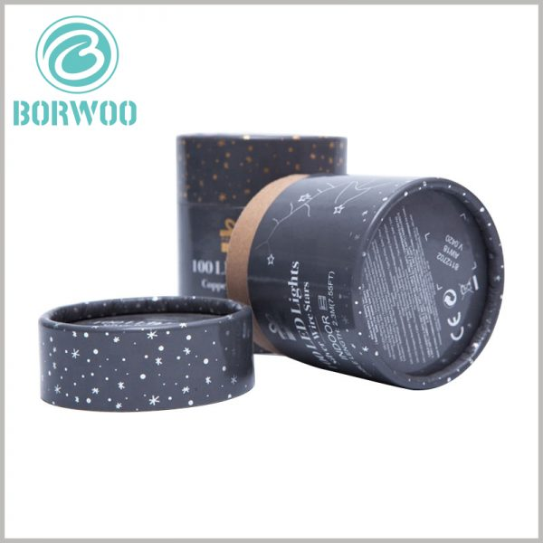 cardboard round boxes with lids for led lights. The detailed text description is printed on the bottom of the paper tube to maintain the simplicity and beauty of the body part of the paper tube