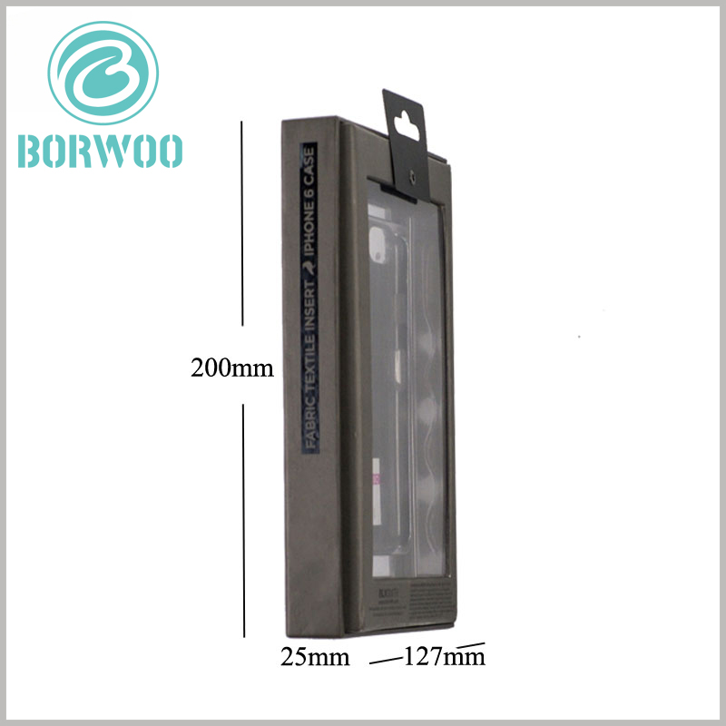 cell phone case packaging with window. Black mobile phone accessories packaging, the reference size of the packaging is 127mm×25mm×200mm. However, the size of the packaging is not fixed and can be customized according to the product.