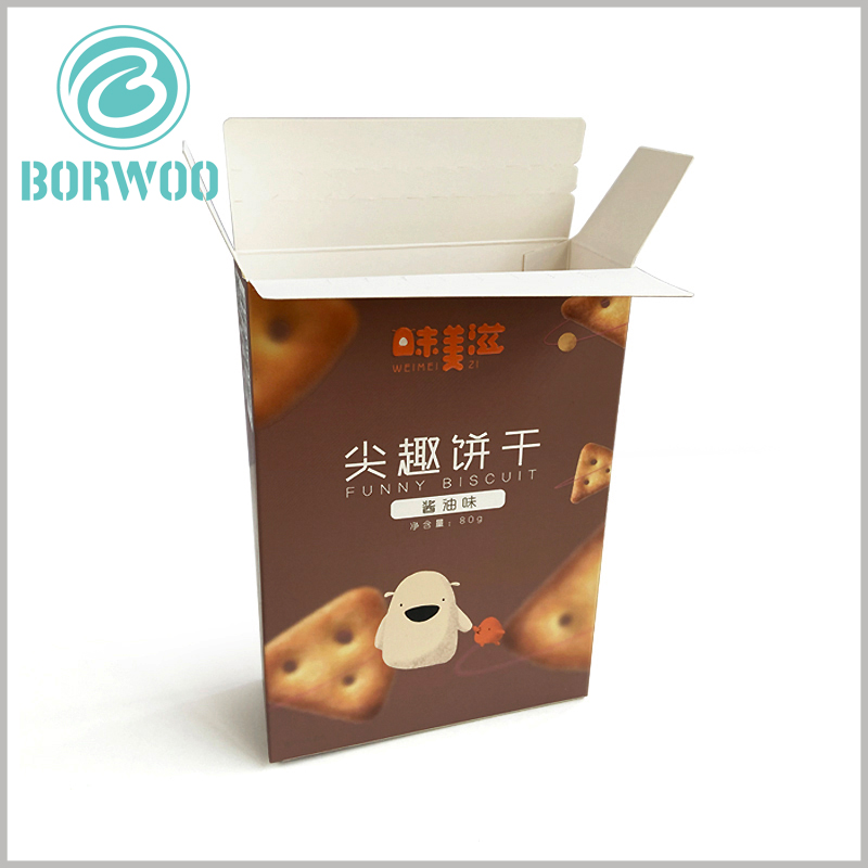 cheap cardboard package for cookies. Food packaging is based on 350gsm cardboard as the raw material, making the customized packaging foldable.