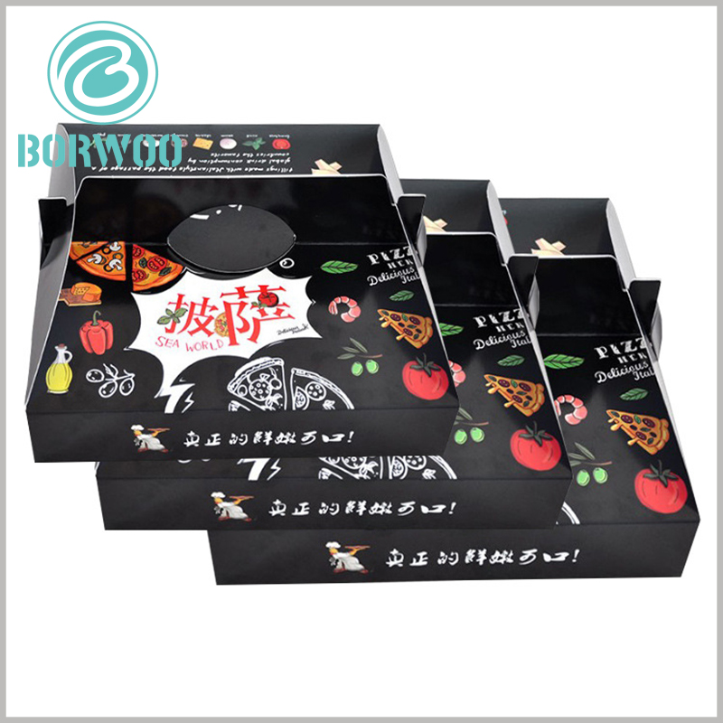 cheap pizza boxes with handles. 350gsm cardboard is used as a raw material for pizza packaging, which greatly reduces the manufacturing cost of food packaging.