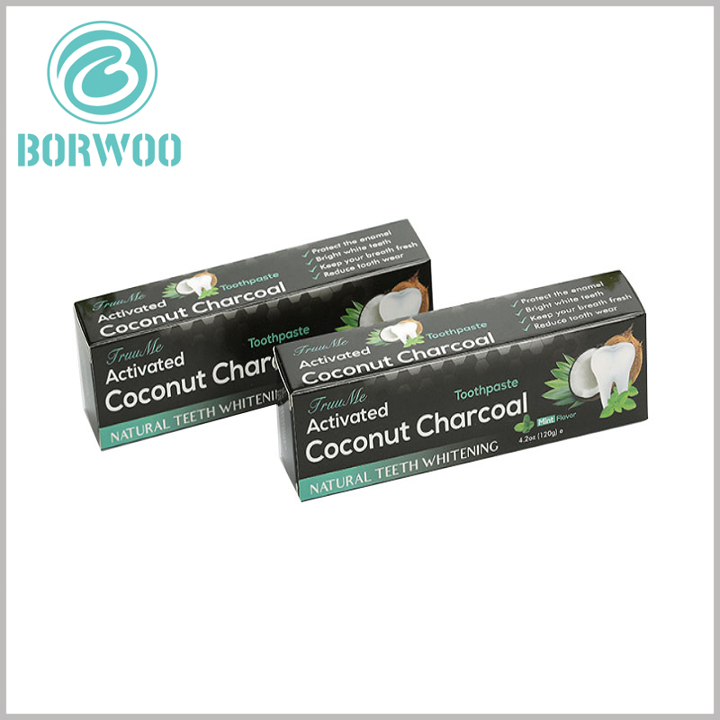 cheap printable packaging of toothpaste box. The ingredients and effects of toothpaste are the most important to customers. Product descriptions can be made through detailed text and numbers and printed on customized packaging.