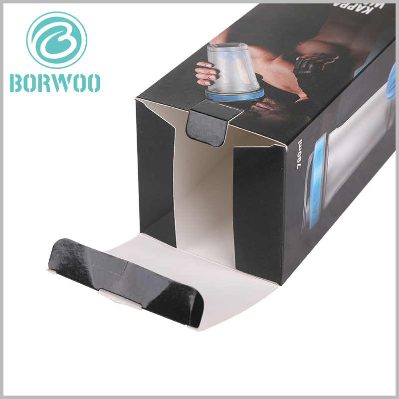 cheap sport water bottle packaging box. The customized packaging is 350gsm single-powder paper as the raw material, and the packaging is foldable.