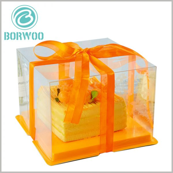 clear cake boxes with orange ribbon. The theme of the cake packaging is to use clear PET as the material, so that the packaging has a high degree of visibility and enhance the appeal of cake food.
