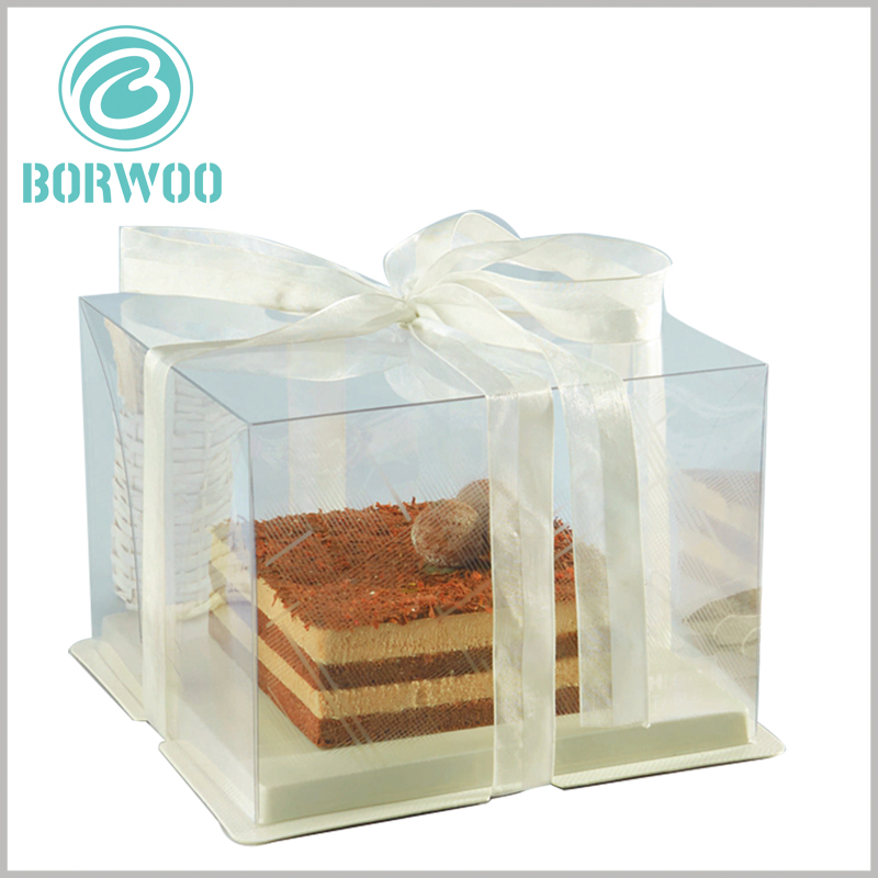 clear cake boxes with ribbon. You can use ribbons of different colors as decoration to increase the appeal of cake packaging.