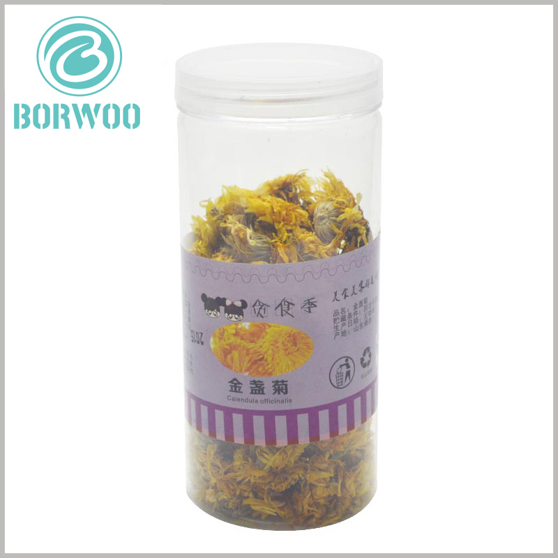 clear food grade plastic tube packaging for chrysanthemum tea, with labels. Printed paper labels are the cheapest way to allow tube packaging to promote products in a targeted manner.