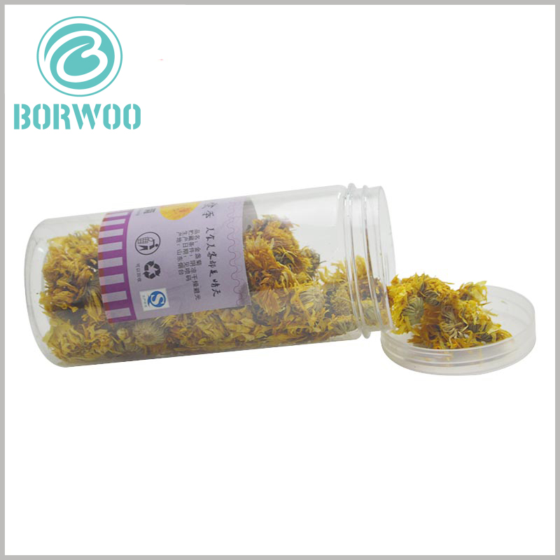 clear food grade plastic tube packaging with caps. The plastic cover is opened in a rotating manner, which can completely seal the package and effectively extend the shelf life of the food inside the package.