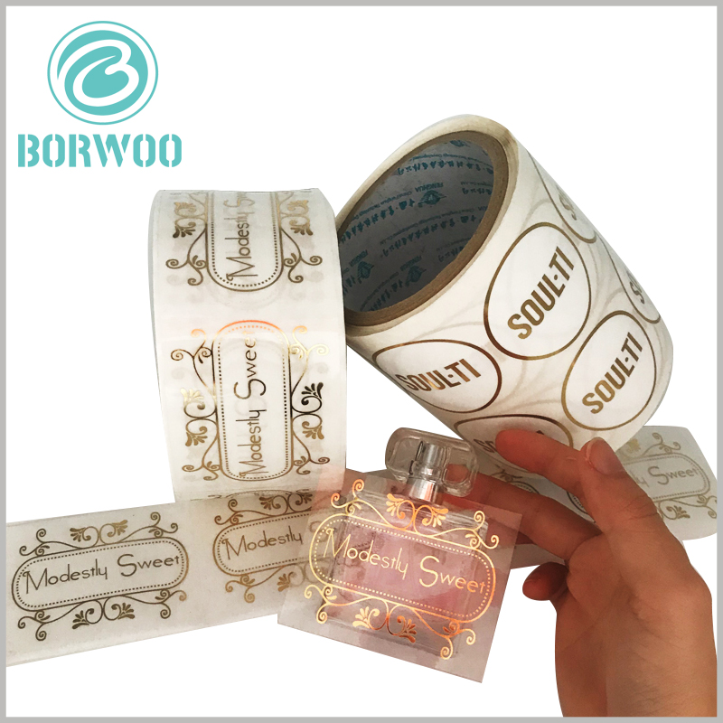 clear perfume bottle labels gold foil print.The customized label has the content of bronzing printing, which can reflect the characteristics of perfume and brand value.