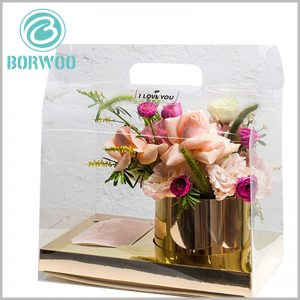 clear plastic gable boxes packaging for flower. Paste the printed label on the specific part of the clear package to improve the recognition and publicity effect of the package.