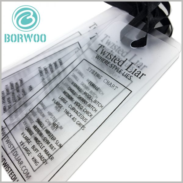 clear plastic hang tags printable. Detailed product text is printed on the customized tag, and the plastic tag will play the role of product description.