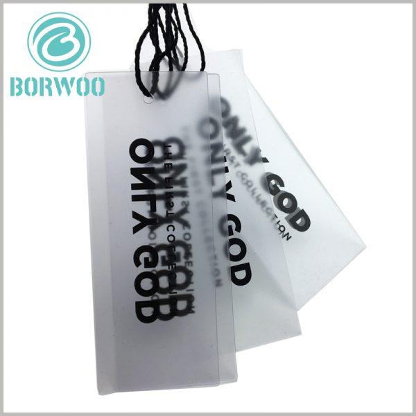 clear plastic hang tags with logo.Transparent pet is used as the raw material of plastic label. After frosting process, the label is translucent.