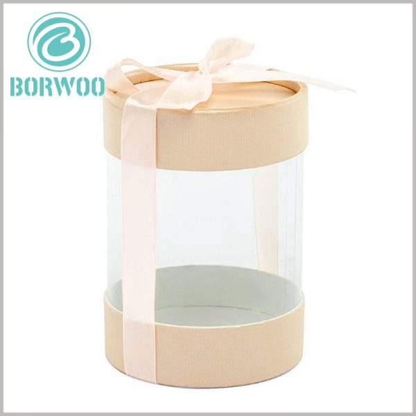 clear plastic tube packaging with gift bows.Corrugated paper caps improve the artistry of tube packaging, making products more attractive and competitive.
