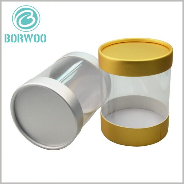 clear plastic tubes packaging with paper caps. The two ends of the large plastic tube package are covered with gold cardboard paper cover, which gives the package a golden visual sense.