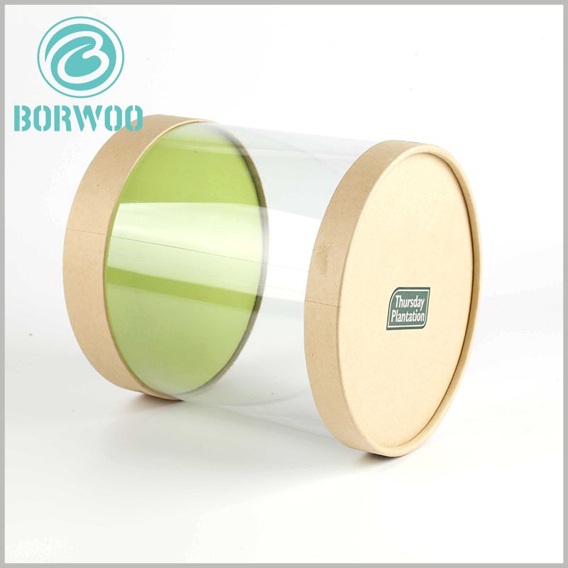 clear pvc tube packaging with kraft lids. The bottom of the plastic tube packaging is cardboard, which plays an important role in improving the load-bearing capacity of the packaging.
