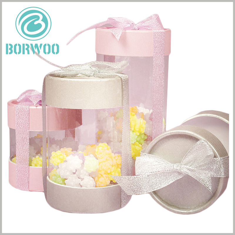 clear tube food packaging with gift bows. The size of customized tube packaging has a great relationship with the product, and the packaging size is determined according to the product.