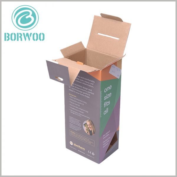 corrugated packaging for sports brace. E Corrugated paper is used as the raw material for packaging, and customized packaging is light and cheap.
