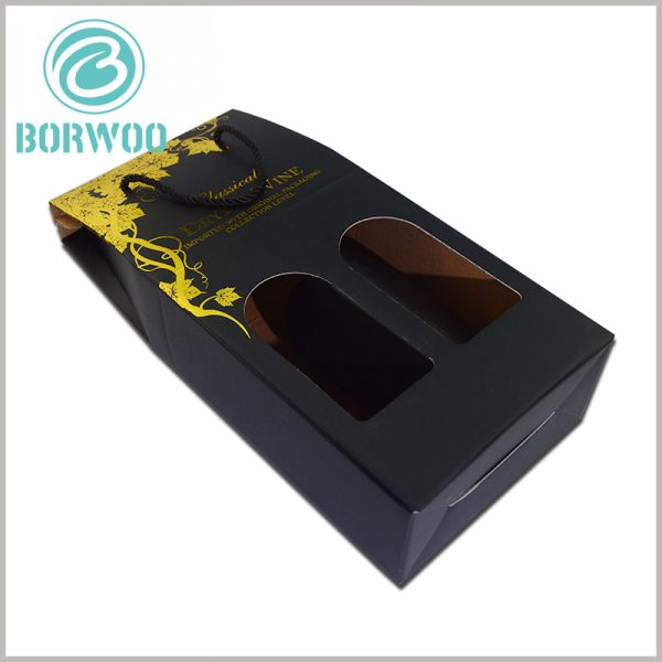 corrugated wine boxes for double bottle, with windows. Similar to a window-shaped hollow, it increases the artistry of the packaging and improves the visibility of the packaging to the product.