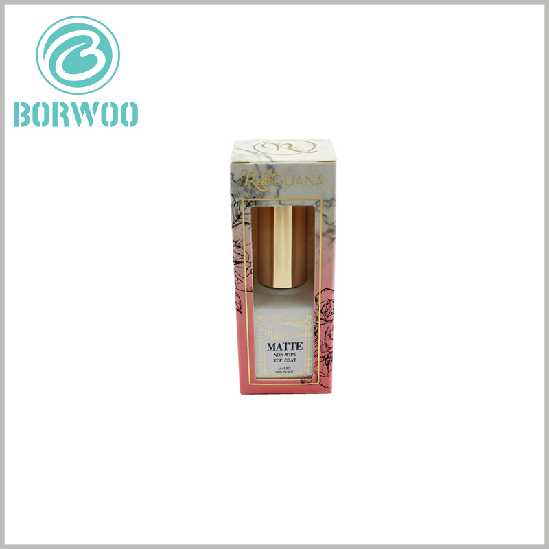 cosmetic packaging box with window for nail polish packaging. The same brand packaging design can be used for different product series, and the focus of marketing is focused on brand promotion and construction.