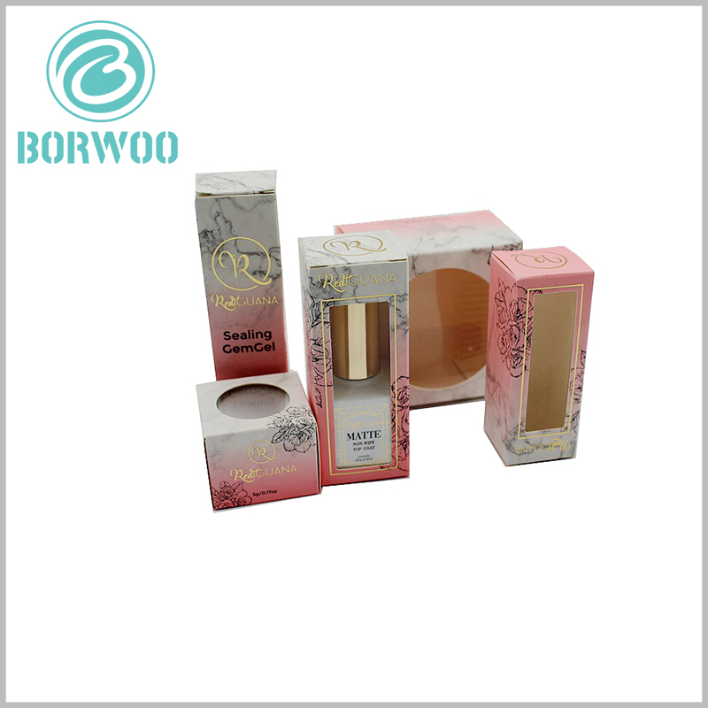 cosmetic packaging box with window. With high-quality ink printing and unique packaging design, cosmetic boxes packaging becomes beautiful and attractive.