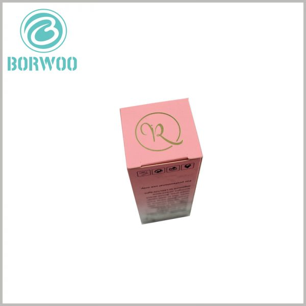cosmetic packaging boxes with bronzing logo. Brand information and logo are printed by bronzing, and the golden visual sense can improve customers' judgment of brand value