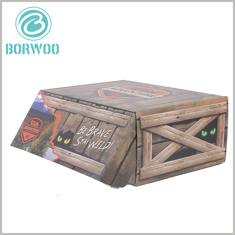 creative Imitation wood corrugated packaging boxes. Printed copper paper is laminated on the surface of corrugated paper, giving the packaging a unique visual sense and creativity.