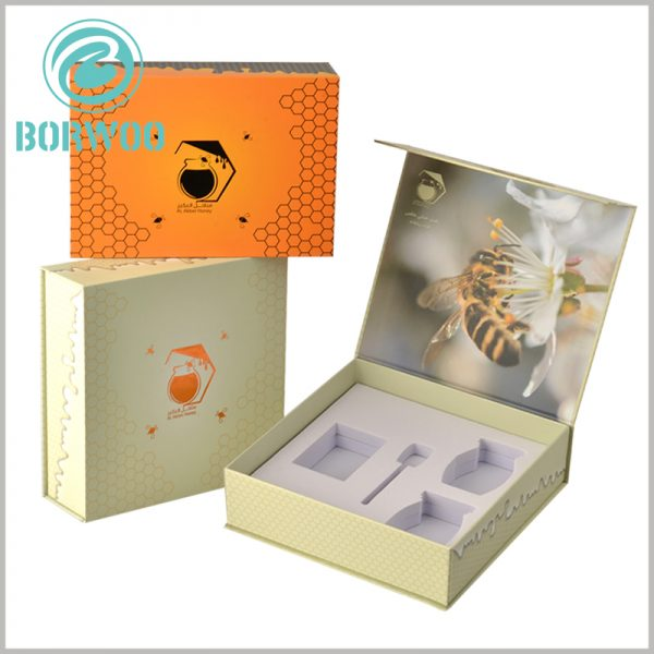 creative food packaging for honey. Customized packaging can meet the needs of honey, and the white EVA inside the packaging can fix the food can to maintain product stability.