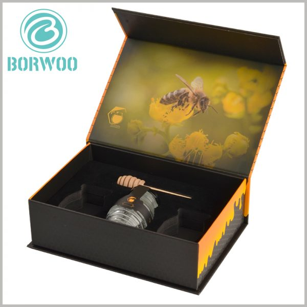 creative food packaging for honey boxes. The black flocking EVA is used to fix 3 bottles of honey glass jars to maintain the stability of the product.
