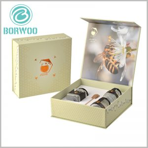 creative food packaging for honey of three jars. The structure and shape of the EVA inside the food packaging can be customized, and different numbers of glass jars can be fixed according to needs.