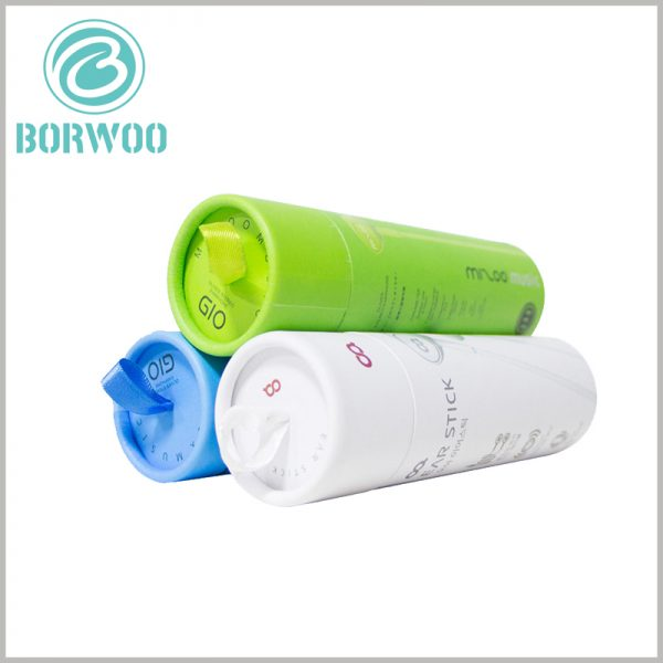 creative small paper tube for earphone packaging. There is a thin silk pull ring on the top of the small cardboard tube packaging, which can play a decorative packaging role