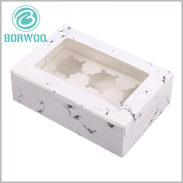 """custom Creative mini cupcake boxes with """"white marbled road"""". The top of the package is made of transparent PVC as the window to satisfy customers' desire to peek into the products inside the package."""