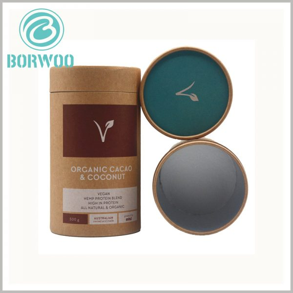 custom Kraft tube packaging for 500g protein powder. The food-grade tube packaging has aluminum foil inside, which has a good effect on extending the shelf life of food.