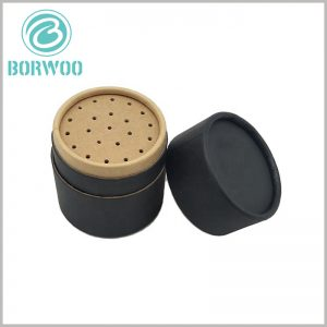 custom black cardboard tube for seasoning packaging. The packaging design of the seasoning is the same as the traditional glass or plastic bottle, but the material is completely biodegradable paper tube.