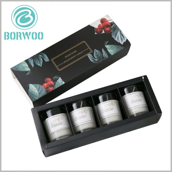 custom black drawer candle boxes packaging for 4 jars. Inside the drawer boxes, there is an insert plate (gasket) formed by black cardboard, which is used to avoid direct collision of the candle and protect the product.