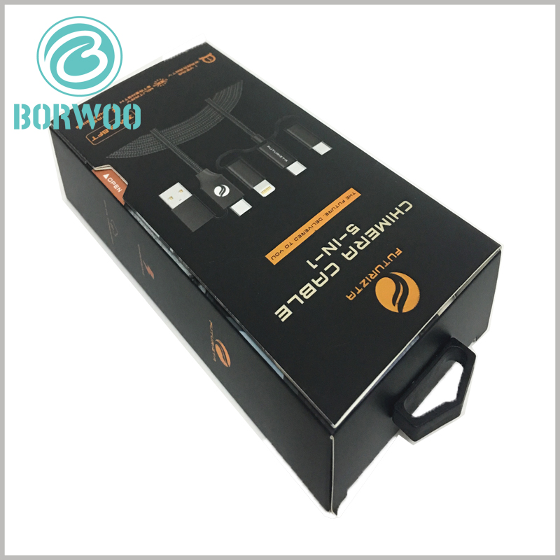 custom black packaging for 5 in 1 cable. Customized packaging uses 350gsm cardboard as the raw material to make the packaging foldable and reduce packaging manufacturing costs.