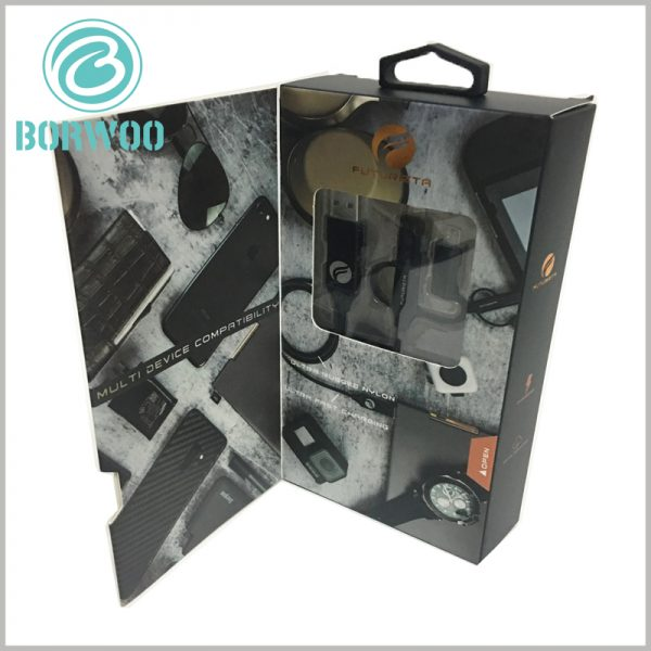 custom black packaging with window for 5 in 1 chimera cable. At the sealing part of the package, a pvc window is designed to allow the product to be fully displayed when the package is sealed.