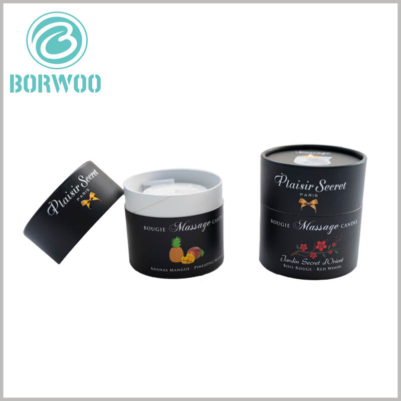 custom black round candle boxes packaging. The printed content of customized tube packaging is closely related to the characteristics of the product, mainly reflecting product differentiation.