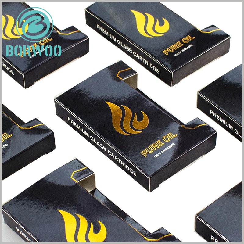custom black small boxes for cannabis oil packaging. The specific content on the essential oil packaging box can be targeted to promote the brand and product characteristics