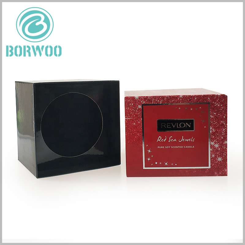 custom cardboard candle boxes packaging. 1200gsm gray board paper is one of the main raw materials for square boxes, which gives the packaging a high degree of firmness and resistance to pressure, and can protect the glass of scented candles.