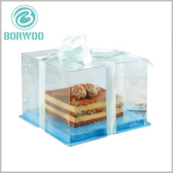 custom clear cake boxes with ribbon. The use of clear boxes in food packaging will allow the product to be completely exposed to customers and increase the attractiveness of the product.