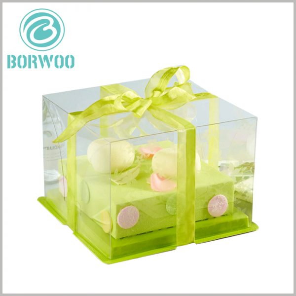 custom clear cake boxes with ribbon wholesale. According to the size and type of cake, choose a specific structure and size for the clear packaging.