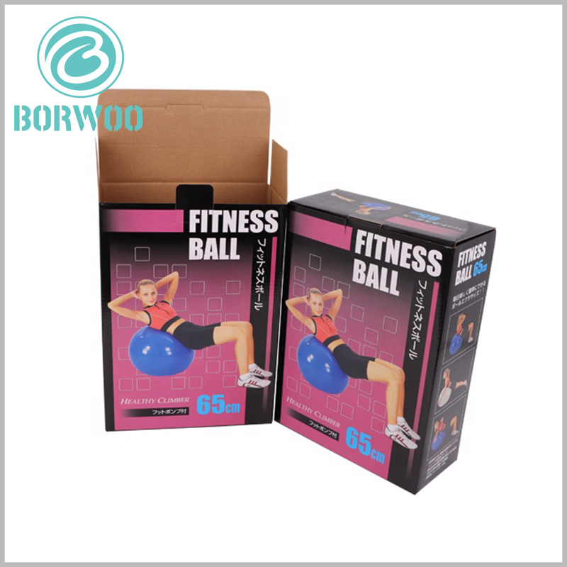 custom corrugated packaging for fitness ball. Printed art paper covers the surface of corrugated packaging to improve packaging appearance and enhance attractiveness.