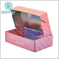 custom corrugated packaging for makeup boxes. Printing the name of the brand on the front of the cosmetic boxes packaging will be most conducive to the building of the brand image.