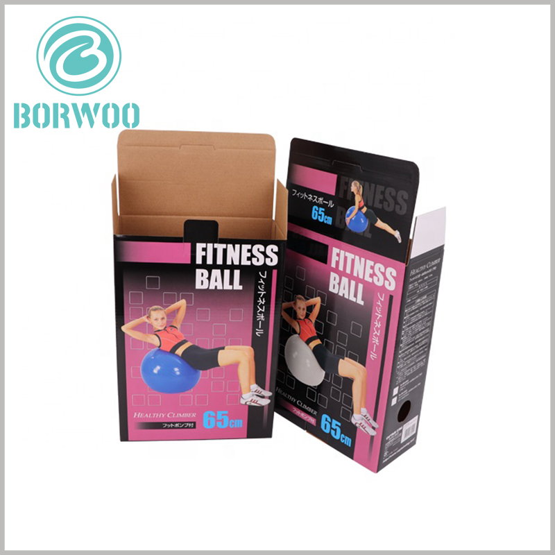 custom corrugated paper packaging for fitness ball. The corrugated paper packaging has a buckle at the seal, which can firmly fix the packaging seal.