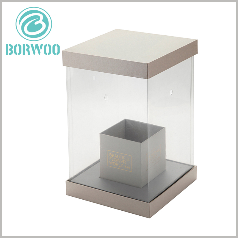 custom dispaly boxes for flower packaging. The customized flower packaging uses cardboard and PVC film as raw materials. The PVC film surrounds the main body of the package, which can fully display the characteristics of flowers.